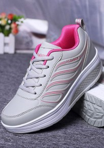 Grey Round Toe Flat Lace-up Casual Shoes