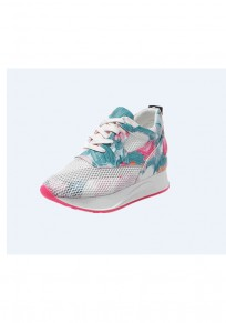 Pink Round Toe Flat Floral Print Hollow-out Casual Shoes