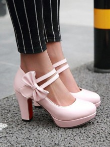 Pink Round Toe Chunky Bow Casual High-Heeled Shoes