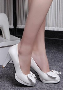 White Round Toe Chunky Bow Casual High-Heeled Shoes