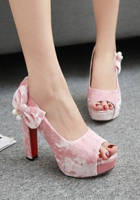 Pink Piscine Mouth Chunky Bow Fashion High-Heeled Sandals