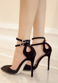 Black Point Toe Stiletto Double Buckle Fashion High-Heeled Sandals