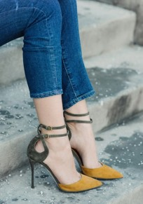 Yellow Point Toe Stiletto Double Buckle Fashion High-Heeled Sandals