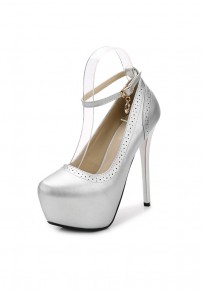 Silver Round Toe Stiletto Fashion Buckle High-Heeled Shoes