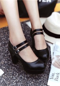 Black Round Toe Chunky Double Buckle Casual High-Heeled Shoes
