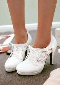 White Round Toe Stiletto Hollow-out Fashion High-Heeled Shoes