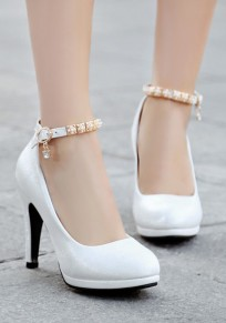 White Round Toe Stiletto Rhinestone Buckle Casual High-Heeled Shoes