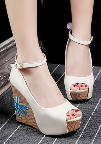 White Piscine Mouth Wedges Embroidery Buckle Casual Sandals