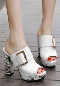 White Piscine Mouth Chunky Print Buckle Fashion High-Heeled Sandals