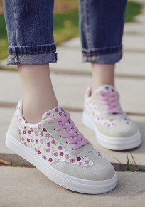 Pink Round Toe Flat Lace-up Floral Print Casual Shoes