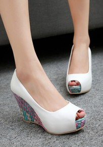 White Piscine Mouth Wedges Casual Sandals