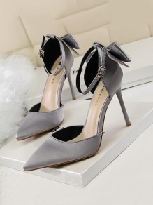 Grey Point Toe Stiletto Bow Fashion Buckle High-Heeled Shoes