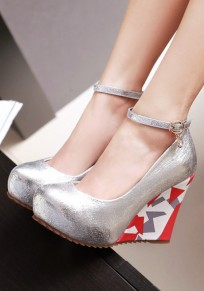 Silver Round Toe Color Block Print Fashion Wedges Shoes