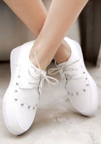 White Round Toe Flat Rivet Lace-up Casual Shoes