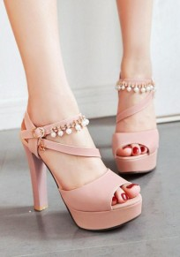 Pink Piscine Mouth Chunky Pearl Fashion High-Heeled Sandals