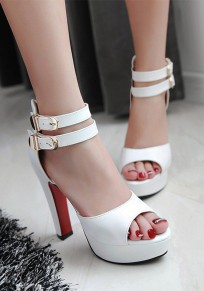 White Piscine Mouth Chunky Zipper Casual High-Heeled Sandals