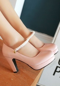 Pink Round Toe Chunky Beads Casual High-Heeled Shoes