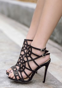 Black Piscine Mouth Stiletto Double Buckle Hollow-out Fashion High-Heeled Sandals