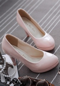 Pink Round Toe Stiletto Casual High-Heeled Shoes