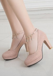 Pink Round Toe Chunky Rhinestone Chain Fashion Sequin High-Heeled Shoes