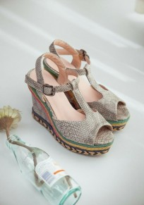 Grey Piscine Mouth Wedges Buckle Fashion Sandals
