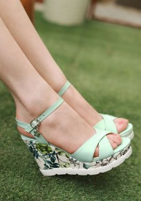 Green Piscine Mouth Wedges Floral Print Buckle Fashion Sandals