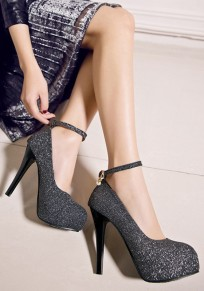 Black Round Toe Stiletto Sequin Buckle Fashion High-Heeled Shoes