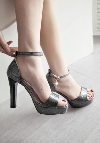Black Piscine Mouth Chunky Pearl Buckle Fashion High-Heeled Sandals