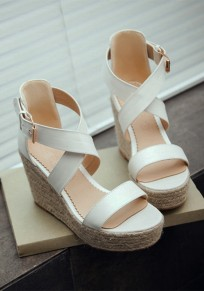 White Round Toe Wedges Buckle Casual Sandals