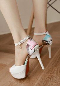 White Piscine Mouth Stiletto Print Buckle Fashion High-Heeled Sandals