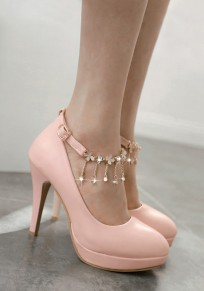 Pink Round Toe Stiletto Rhinestone Chain Fashion High-Heeled Shoes