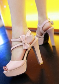 Pink Piscine Mouth Chunky Bow Sweet High-Heeled Sandals