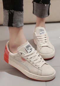 Beige Round Toe Flat Lace-up Casual Shoes
