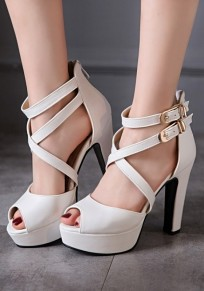 White Piscine Mouth Chunky Double Buckle Zipper High-Heeled Sandals