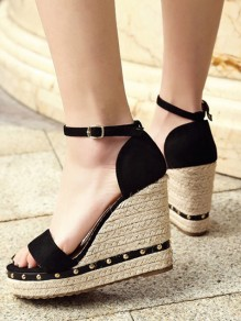 Black Round Toe Wedges Rivet Within The Higher Buckle Casual Sandals