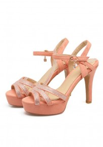 Pink Round Toe Stiletto Rhinestone Buckle Fashion High-Heeled Sandals