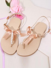 Beige Round Toe Flat Bow Beads Buckle Casual Sandals