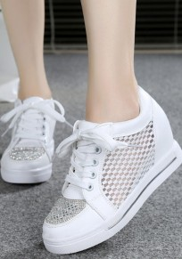 White Within The Higher Rhinestone Grenadine Casual Shoes