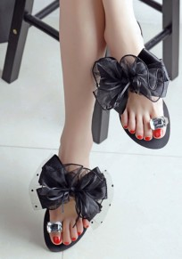 Black Round Toe Flat Bow Rhinestone Sweet Slippers