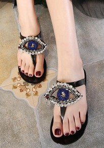 Black Round Toe Flat Rhinestone Fashion Slippers