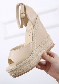 Apricot Piscine Mouth Wedges Buckle Casual Sandals