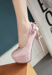 Pink Round Toe Stiletto Bow Rhinestone Fashion High-Heeled Shoes