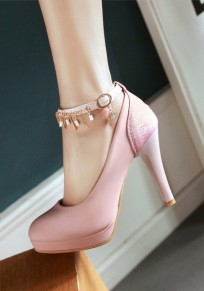 Pink Round Toe Stiletto Rhinestone Beads Buckle Fashion High-Heeled Shoes