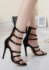 Black Round Toe Stiletto Buckle Zipper Fashion High-Heeled Sandals