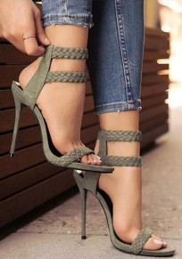 Army Green Round Toe Stiletto Fashion High-Heeled Sandals