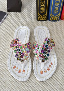 White Round Toe Flat Sequin Embroidery Beads Casual Slippers