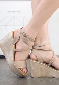 Apricot Round Toe Wedges Cross Buckle Casual Sandals