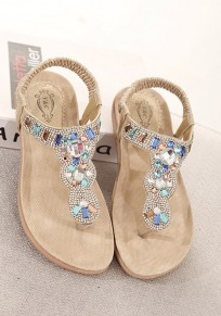 Golden Round Toe Flat Rhinestone Bohemian Ankle Sandals