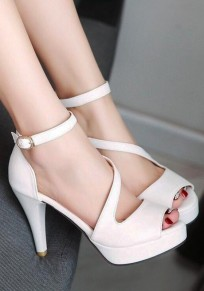 White Piscine Mouth Stiletto Cross Buckle Fashion High-Heeled Sandals