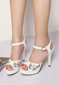 White Piscine Mouth Stiletto Embroidery Buckle Fashion High-Heeled Sandals
